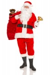 Santa Claus or Father Christmas carrying a sack full of gift wra
